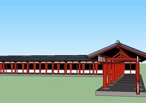 中式景观景观长廊设计SU(草图大师)精细模型