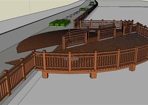 景观木平台设计SU(草图大师)模型