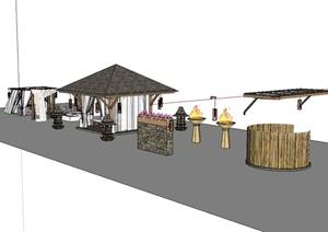 东南亚风格庭院凉亭、廊架、灯塔设计SU(草图大师)模型