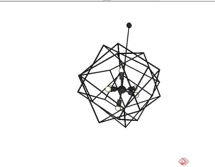 现代简约风格吊灯素材设计su模型(3)