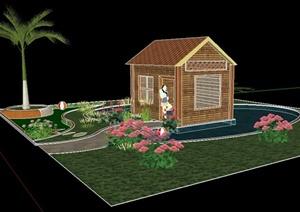 现代住宅小屋建筑及景观SU(草图大师)模型