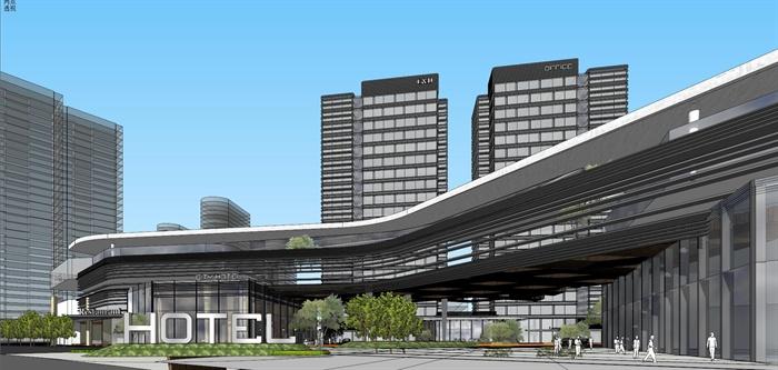 精品現代投標商業綜合體項目建筑設計方案SU模型及高清效果圖(2)
