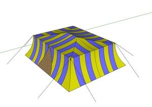 独特条纹帐篷设计SU(草图大师)模型