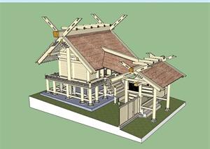 泰式创意住宅建筑设计SU(草图大师)模型
