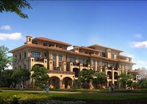欧式双拼别墅详细建筑设计3d模型含效果图