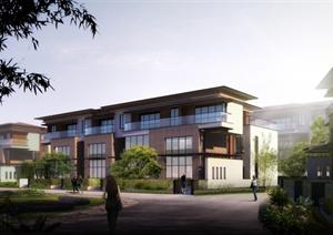现代风格别墅小区建筑设计3d模型