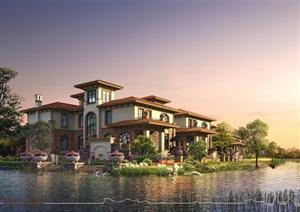 某欧式风格精致洋房别墅设计3d模型