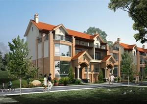 简欧联排别墅详细建筑设计3d模型含效果图