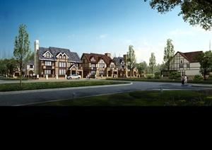 欧式别墅详细建筑设计3d模型及效果图