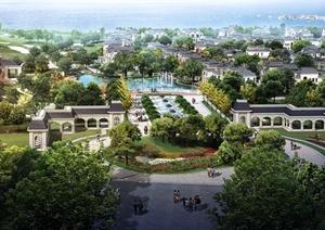 中建汤逊湖壹号别墅小区景观设计3d模型及效果图
