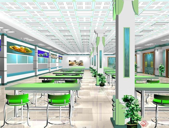 某现代风格详细大学食堂装修设计cad施工图及效果图(1)