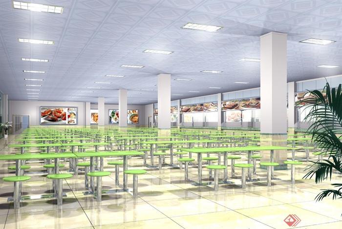 某现代风格详细大学食堂装修设计cad施工图及效果图(5)