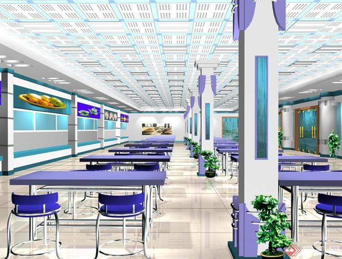 某现代风格详细大学食堂装修设计cad施工图及效果图(4)