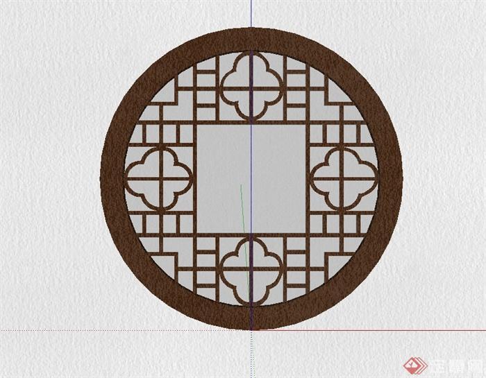 圓形中式風格花窗設計su模型(1)
