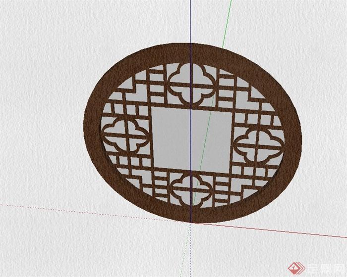 圓形中式風格花窗設計su模型(3)