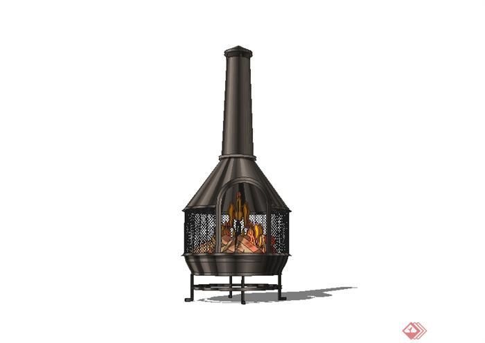 現代風格室內火爐設計su模型(1)