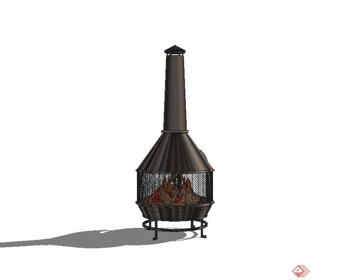 現代風格室內火爐設計su模型(3)