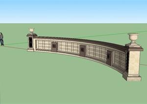 新古典风格弧形景墙详细设计SU(草图大师)模型