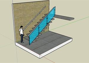 现代风格室内详细楼梯踏步设计SU(草图大师)模型