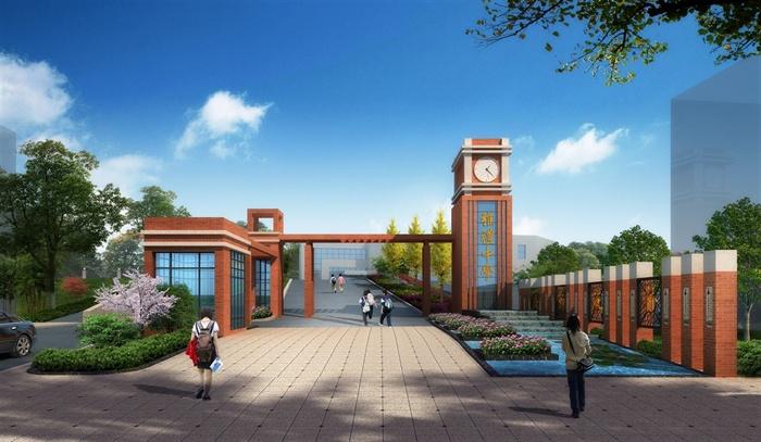现代风格详细学校大门设计3d模型