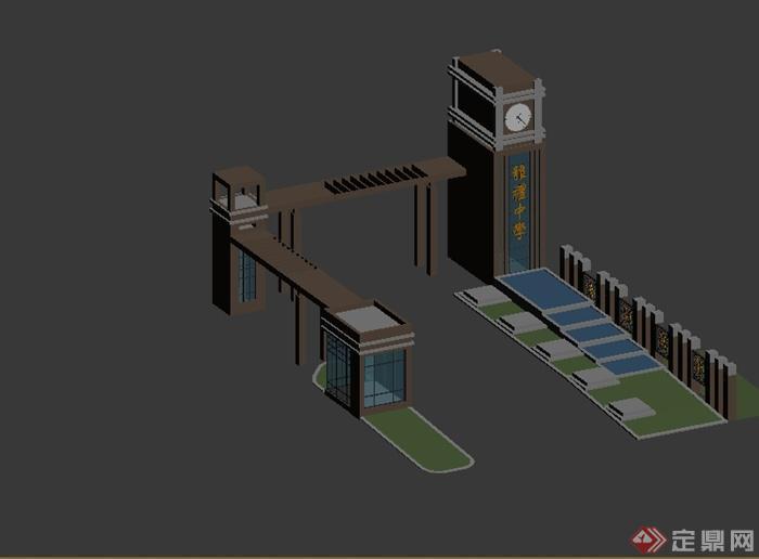 现代风格详细学校大门设计3d模型(2)