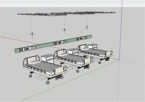 医院病床详细设计SU(草图大师)模型