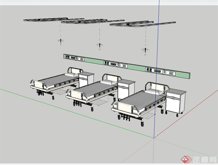 医院病床详细设计su模型(3)