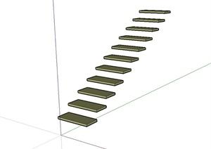 室内简单的楼梯踏步设计SU(草图大师)模型