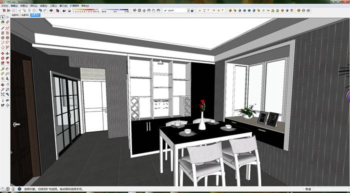 现代风格详细的室内客餐厅空间设计su模型