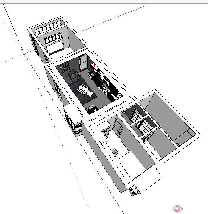 现代风格详细的室内客餐厅空间设计su模型(3)