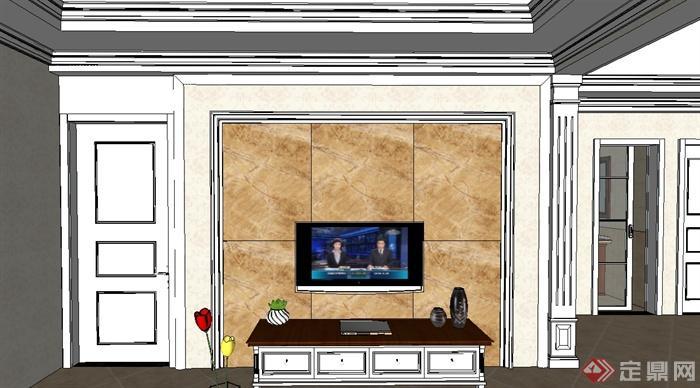 现代风格详细完整的室内空间设计su模型(1)