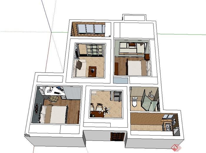 现代风格详细完整的室内空间设计su模型(4)