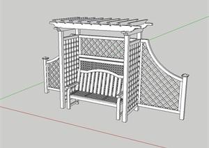 现代中式风格详细的廊架坐凳组合设计SU(草图大师)模型