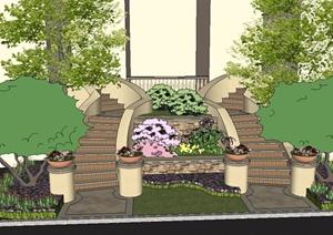别墅入口台阶方案SU(草图大师)模型