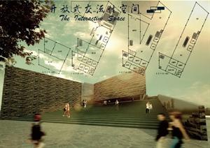 某现代风格博物馆设计课程作业cad方案图纸psd方案和SU(草图大师)模型