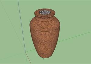 多种不同的单个陶罐小品设计SU(草图大师)模型