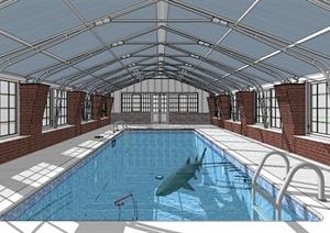 现代风格详细的室内游泳馆设计SU(草图大师)模型