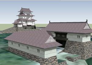 古典中式风格详细的多层居住建筑SU(草图大师)模型