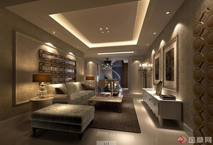 二层欧式风格别墅室内设计施工图及效果图(1)