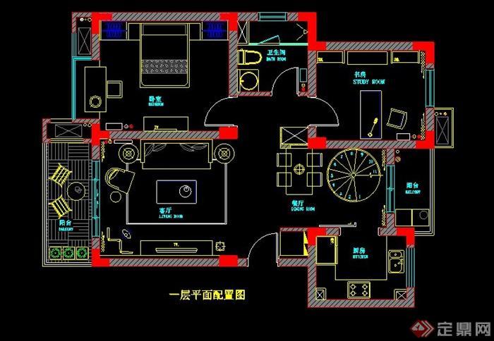二层欧式风格别墅室内设计施工图及效果图(4)