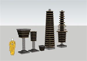 现代风格详细的柱体小品设计SU(草图大师)模型